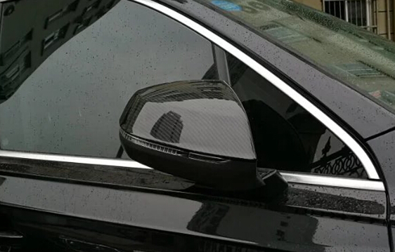 Audi Q7 2017 Imitation Carbon Door Mirror Covers / Chrome Side Mirror Covers